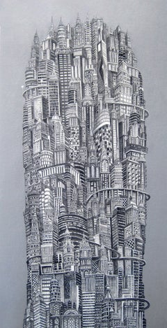 Silver Tower, New York City, Buildings, Metropolis, Acrylic, Painting,