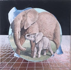 African Elephant, gold, oil, metallic foil, blue, animals, landscape, grid