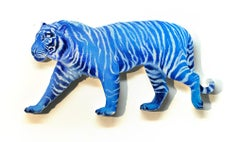 Bengal Tiger, oil on cut out wood panel, blue & white striped figurative, animal