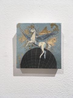 Celestial Pegasus, oil, metal foil, wood, mythical creature, figurative, animal