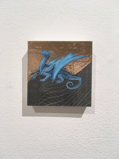 Cerulean Dragon,oil, metal foil, on wood, mythical creature, figurative, animal