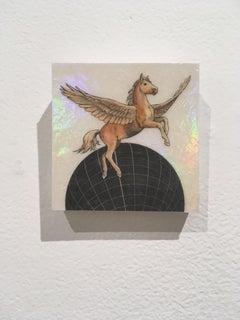 Earthen Pegasus,oil, holographic foil, mythical creature, figurative, animal