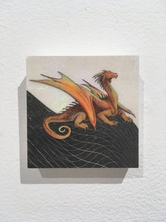 Fire Dragon, oil, holographic foil, wood, mythical creature, figurative, animal