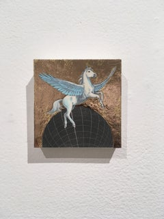 Flying Pegasus, oil, metal foil, on wood, mythical creature, figurative, animal