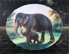 Gentle Mother, oil, metallic foil, green, trees, elephants, animals, landscape