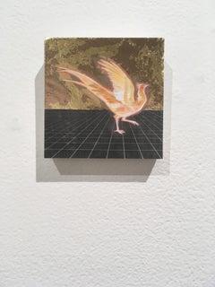Golden Firebird, oil, metal foil, on wood, mythical creature, figurative, animal