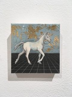 Last Unicorn, oil, metal foil, on wood, mythical creature, figurative, animal