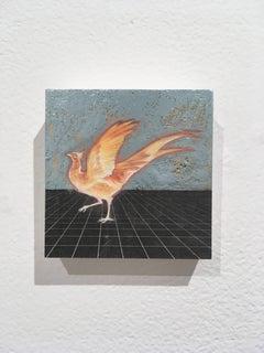 Magical Firebird,oil, metal foil, on wood, mythical creature, figurative, animal