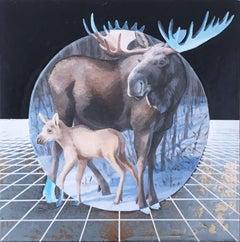 Moose, gold, oil, metallic foil, blue, trees, animals, landscape, grid