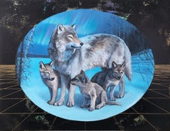 Morning Star, oil, metallic foil, wolf, painting, figurative, animals, landscape
