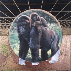Mountain Gorilla, gold, oil, metallic foil, green, trees, animals, landscape