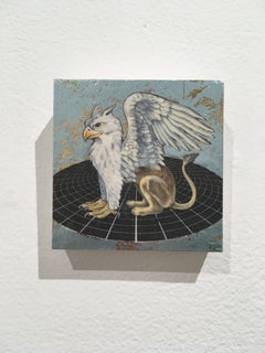 Royal Griffin, oil, metal foil, on wood, mythical creature, figurative, animal