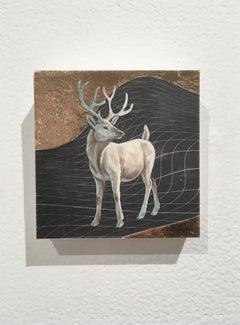 Winter Stag, oil, metal foil, on wood, creature, figurative, animal, antlers