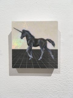 Young Unicorn, oil, holographic foil, mythical creature, figurative, animal