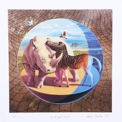 Quagga's Secret , Giclee on Moab paper, edition, zebra, rhinoceros, landscape