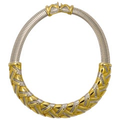 Alexis Kirk Gold Tone and Silver Tone Statement Choker Necklace circa 1980s