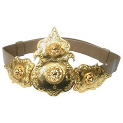 Alexis Kirk Massive Etruscan Gold Buckle Statement Belt c 1980s