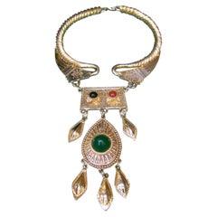 Alexis Kirk Massive Gilt Metal Etruscan Bib Choker Necklace c 1980s