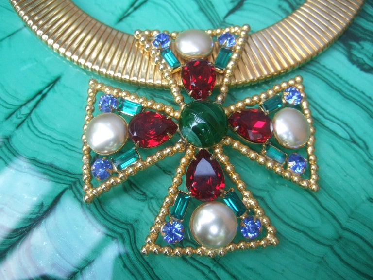 Alexis Kirk Massive Glass Jeweled Maltese Cross Choker Necklace c 1980 For Sale 5