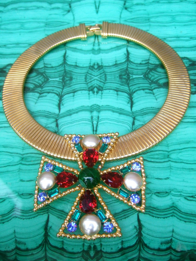 Alexis Kirk Massive Glass Jeweled Maltese Cross Choker Necklace c 1980 For Sale 6