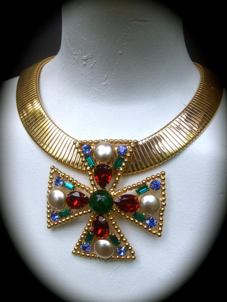 Alexis Kirk Massive Glass Jeweled Maltese Cross Choker Necklace c 1980 For Sale 7