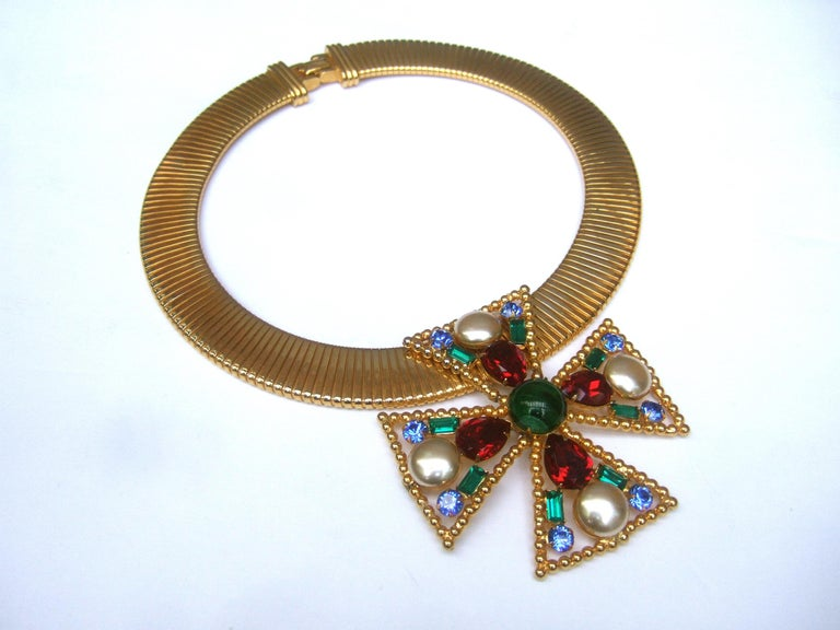 Alexis Kirk Massive Glass Jeweled Maltese Cross Choker Necklace c 1980 For Sale 8