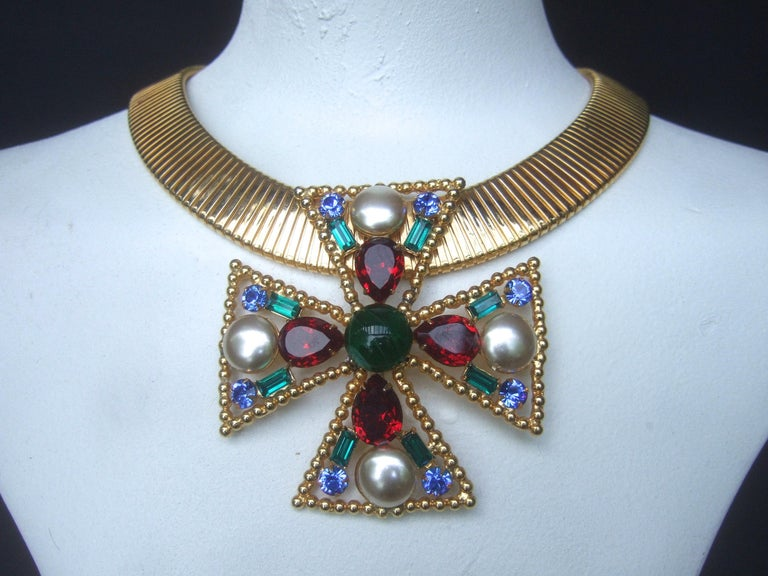 Alexis Kirk Massive Glass Jeweled Maltese Cross Choker Necklace c 1980 For Sale 11