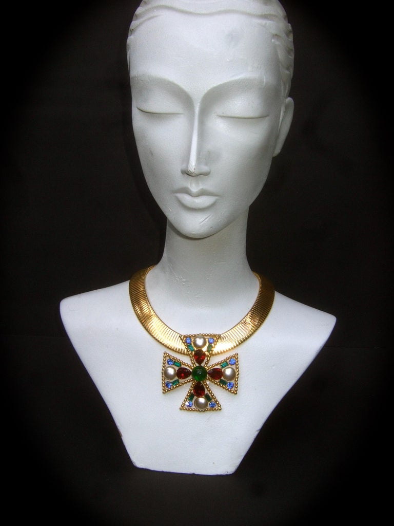Alexis Kirk Massive Glass Jeweled Maltese Cross Choker Necklace c 1980 For Sale 12