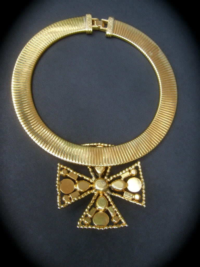 Alexis Kirk Massive Glass Jeweled Maltese Cross Choker Necklace c 1980 For Sale 13