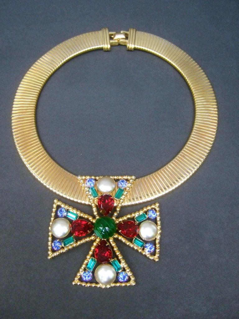 Modern Alexis Kirk Massive Glass Jeweled Maltese Cross Choker Necklace c 1980 For Sale