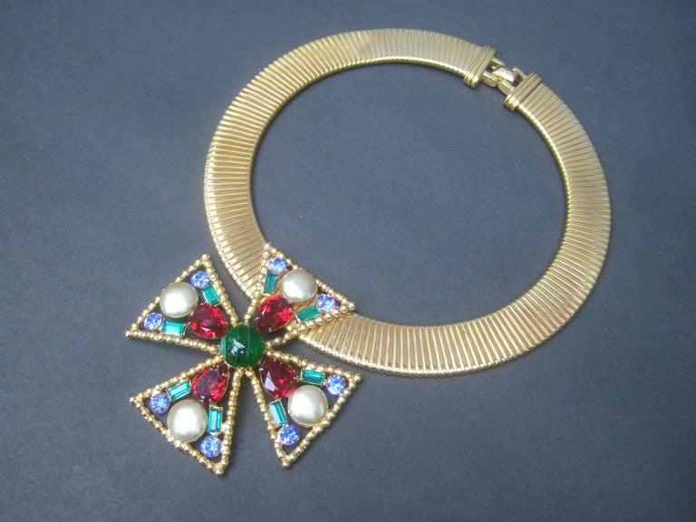 Alexis Kirk Massive Glass Jeweled Maltese Cross Choker Necklace c 1980 In Good Condition For Sale In Santa Barbara, CA