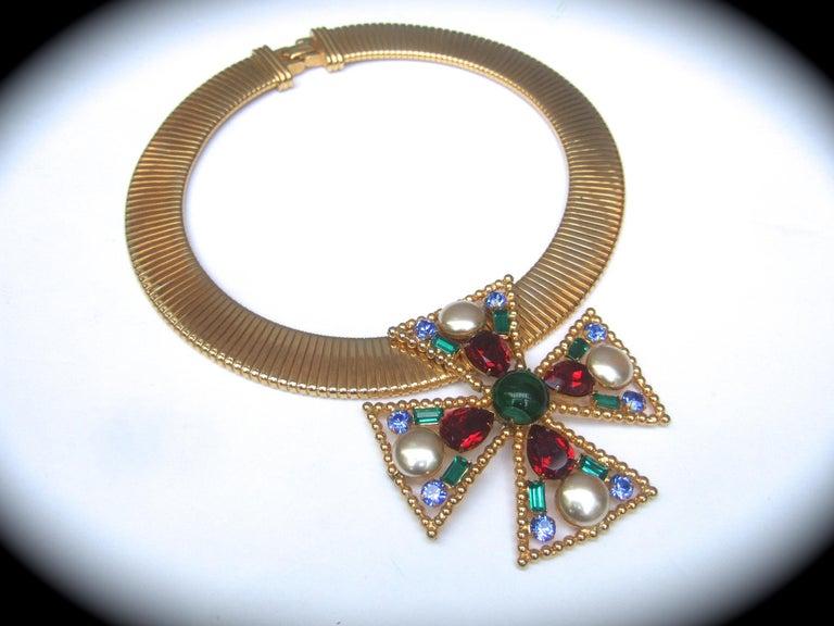 Women's Alexis Kirk Massive Glass Jeweled Maltese Cross Choker Necklace c 1980 For Sale