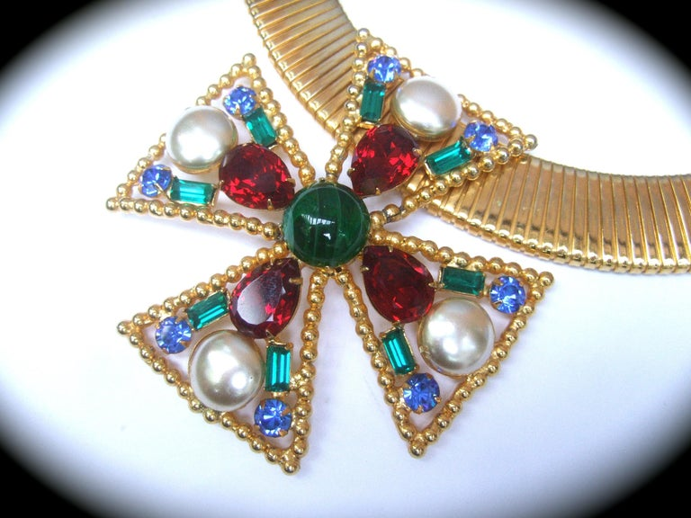 Alexis Kirk Massive Glass Jeweled Maltese Cross Choker Necklace c 1980 For Sale 1