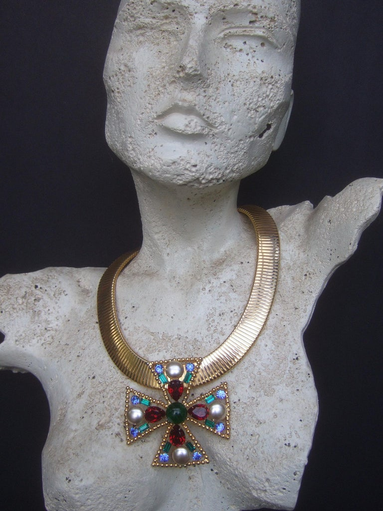 Alexis Kirk Massive Glass Jeweled Maltese Cross Choker Necklace c 1980 For Sale 2