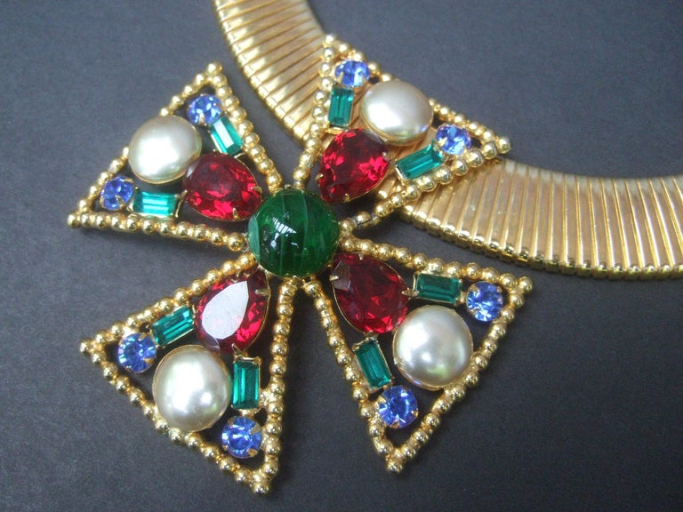Alexis Kirk Massive Glass Jeweled Maltese Cross Choker Necklace c 1980 For Sale 3