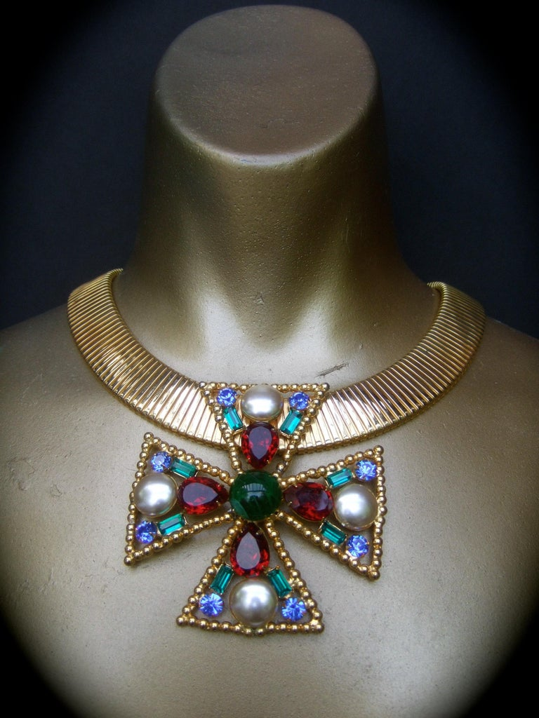 Alexis Kirk Massive Glass Jeweled Maltese Cross Choker Necklace c 1980 For Sale 4