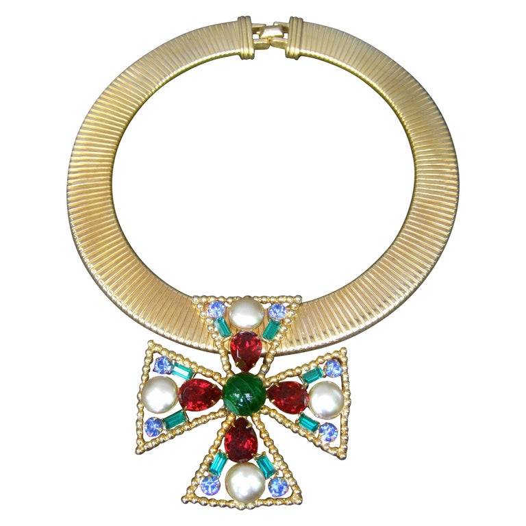 Alexis Kirk Massive Glass Jeweled Maltese Cross Choker Necklace c 1980 For Sale