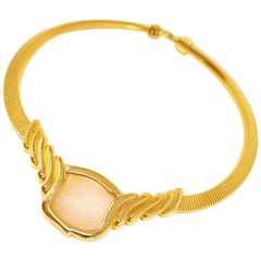 Alexis Kirk Rose Quartz Snake Chain Choker Necklace, Signed, 1980s