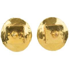 Alexis Lahellec Gilt Resin Modernist Clip Earrings