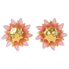 Alexis Lahellec Oversized Clip Earrings Pink Resin Flower