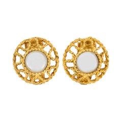 Alexis Lahellec Paris Clip Earrings Gilt Metal with Glass Mirror Cabochon