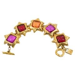 Alexis Lahellec Paris Massive Link Bracelet Red Pink Resin Cabochons