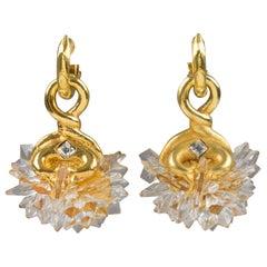 Alexis Lahellec Paris Oversized Lucite Dangle Clip Earrings