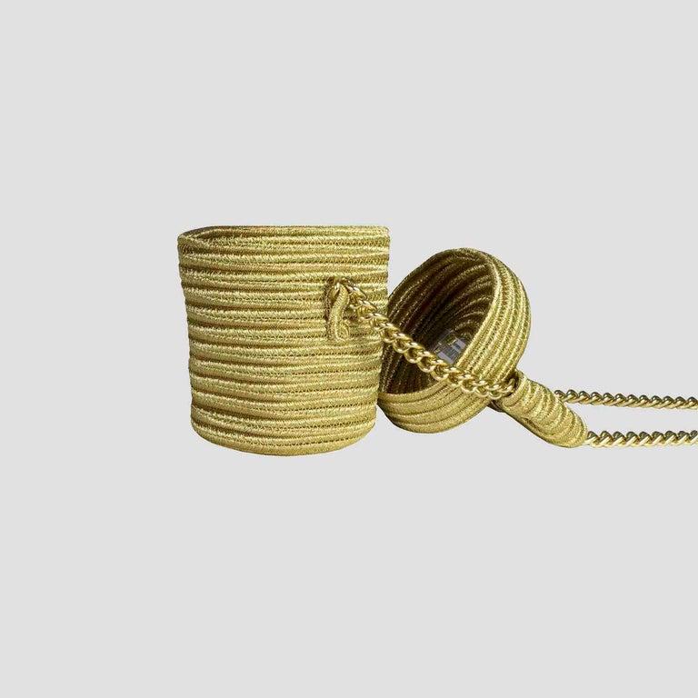 Brown Alexis Mabille Mini Bucket Gold Raffia Bow Bag Chain Strap For Sale