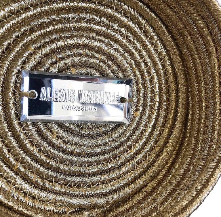 Women's Alexis Mabille Mini Bucket Gold Raffia Bow Bag Chain Strap For Sale