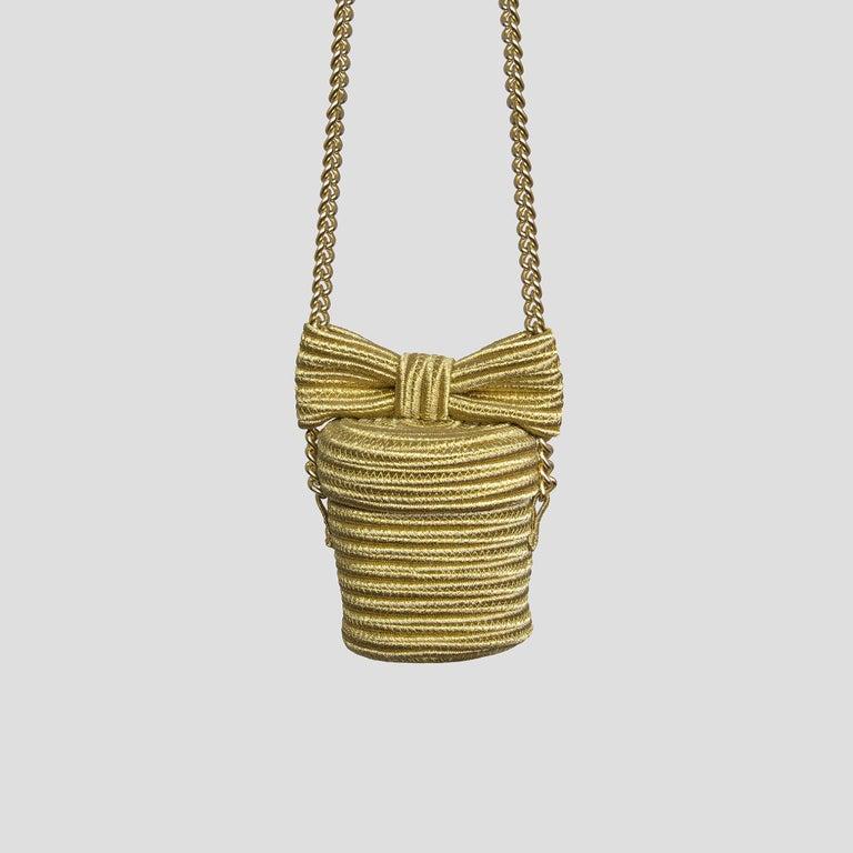 Alexis Mabille Mini Bucket Gold Raffia Bow Bag Chain Strap For Sale 1
