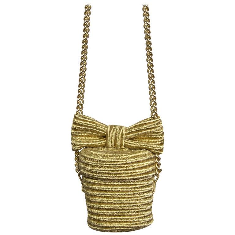 Alexis Mabille Mini Bucket Gold Raffia Bow Bag Chain Strap For Sale