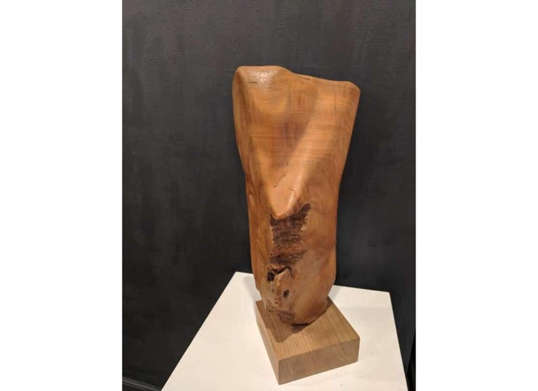 This abstract wooden sculpture is made from African Teak root on an English Windsor base. This is an organic piece in caramel colors and a variety of textures. The sculpture is a stunning and sophisticated piece, sure to draw attention.  Since