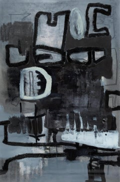 """22 x 30""""  Night Rooms II - Black and white Oil on Paper- unframed"""