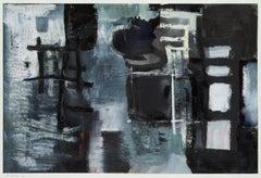 "22x30"" Night Rooms I  - Black, White, Monochromatic Oil on Paper I"
